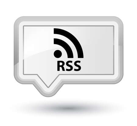 rss: RSS white banner button Stock Photo
