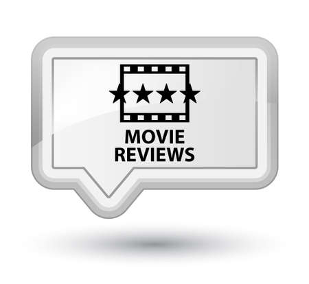reviews: Movie reviews white banner button Stock Photo