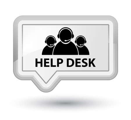 help desk: Help desk (customer care team icon) white banner button Stock Photo