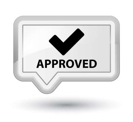 validate: Approved (validate icon) white banner button Stock Photo
