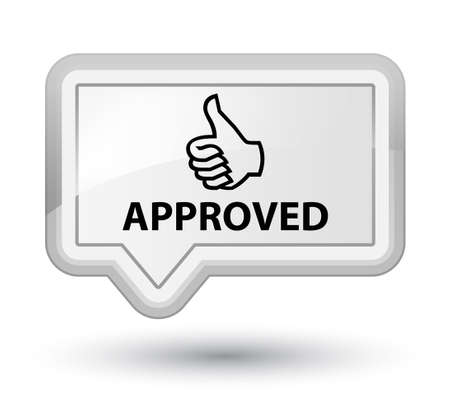 allow: Approved (thumbs up icon) white banner button Stock Photo