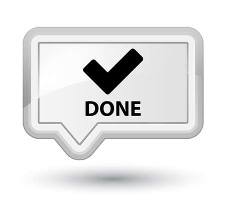 validate: Done (validate icon) white banner button