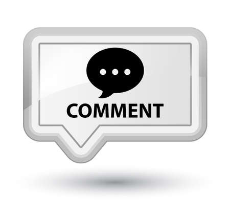 Comment (conversation icon) white banner button Stock Photo
