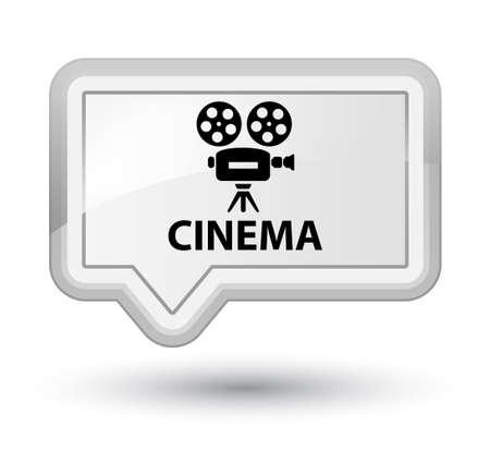 cinematographic: Cinema (video camera icon) white banner button Stock Photo