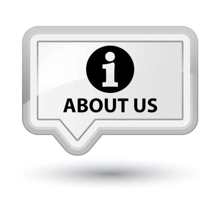 about us: About us white banner button Stock Photo