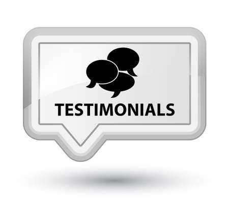 comments: Testimonials (comments icon) white banner button Stock Photo