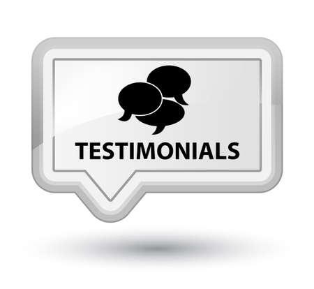 authenticate: Testimonials (comments icon) white banner button Stock Photo