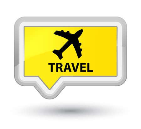 airway: Travel (plane icon) yellow banner button Stock Photo