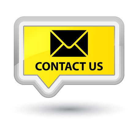 Contact us (email icon) yellow banner button Stock Photo
