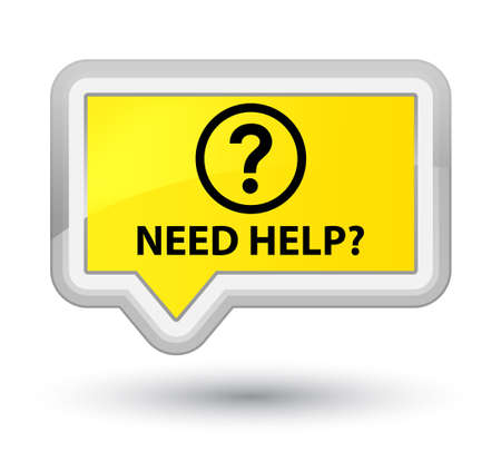 need help: Need help (question icon) yellow banner button