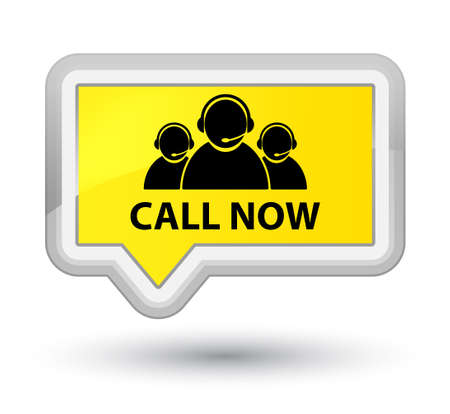Call now (customer care team icon) yellow banner button Stock Photo