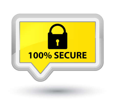 secure: 100% secure yellow banner button