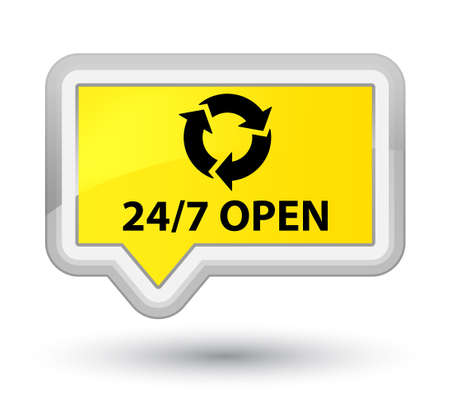 247 botón de banner amarillo abierto Foto de archivo