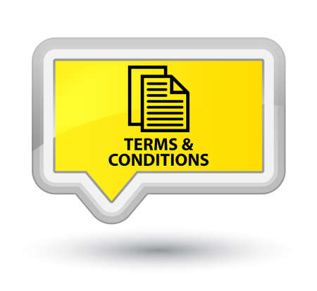 article icon: Terms and conditions (pages icon) yellow banner button Stock Photo