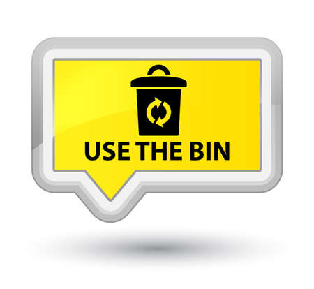 Use the bin yellow banner button Stock Photo
