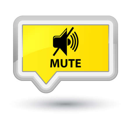 Mute yellow banner button Stock Photo