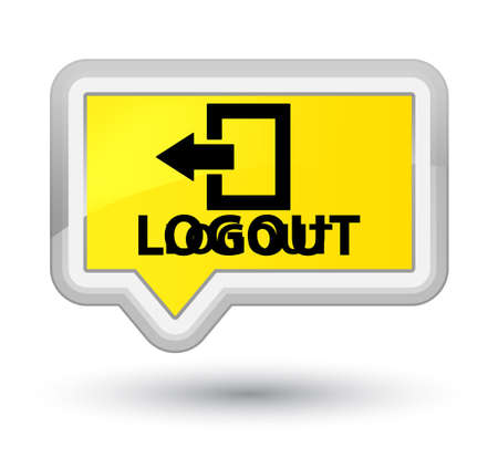 log off: Logout yellow banner button Stock Photo