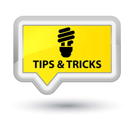 incandescence: Tips and tricks (bulb icon) yellow banner button Stock Photo