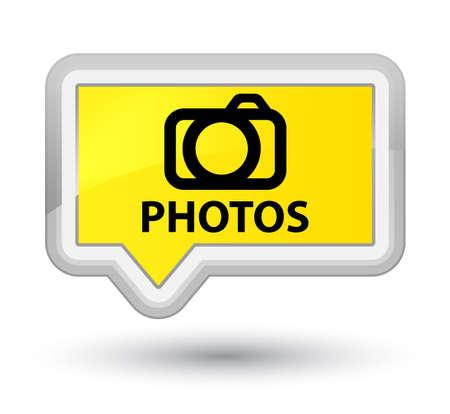 Photos (camera icon) yellow banner button Stock Photo