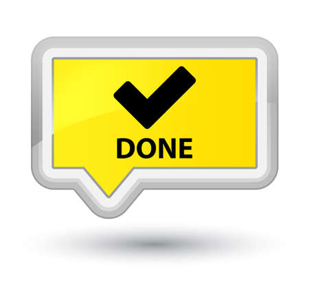 validate: Done (validate icon) yellow banner button Stock Photo