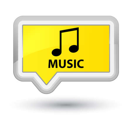 listen to music: Music (tune icon) yellow banner button Stock Photo