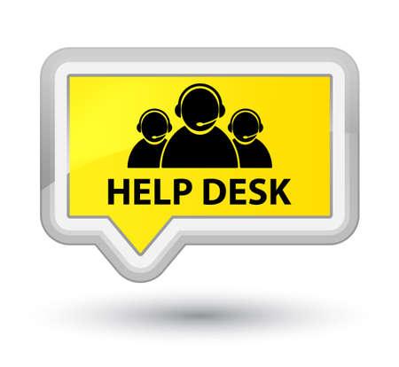 help desk: Help desk (customer care team icon) yellow banner button