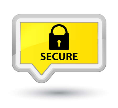 Secure (padlock icon) yellow banner button Stock Photo