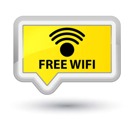 free illustration: Free wifi yellow banner button