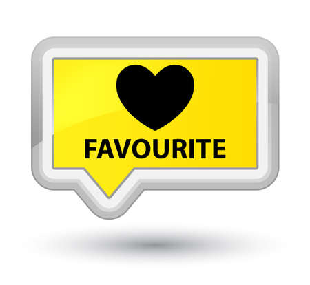 favourite: Favourite (heart icon) yellow banner button