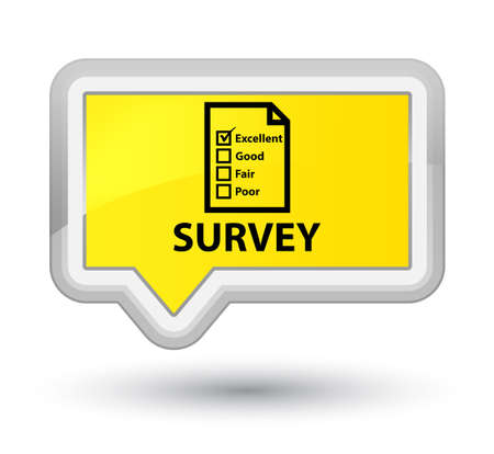 questionnaire: Survey (questionnaire icon) yellow banner button Stock Photo