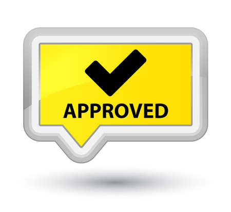 validate: Approved (validate icon) yellow banner button Stock Photo