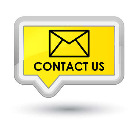 email contact: Contact us (email icon) yellow banner button Stock Photo