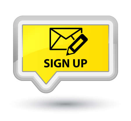 Sign up (edit mail icon) yellow banner button