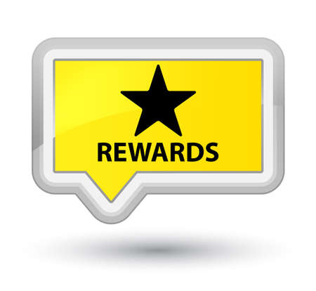 Rewards (star icon) yellow banner button Stock Photo