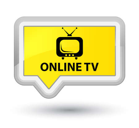 Online tv yellow banner button Stock Photo