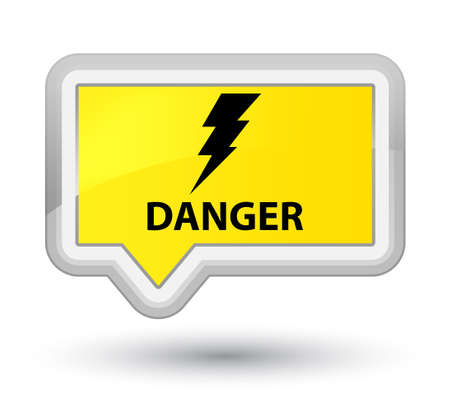 Danger (electricity icon) yellow banner button