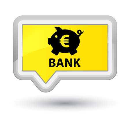 Bank (piggy box euro sign) yellow banner button