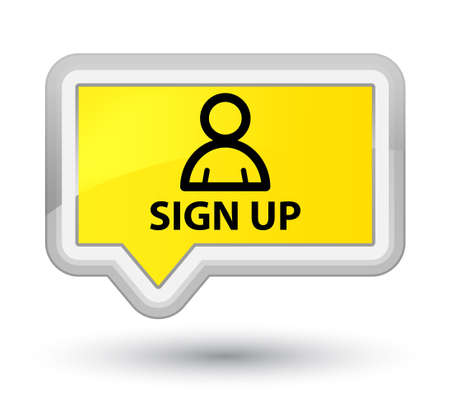 Sign up (member icon) yellow banner button Stock Photo