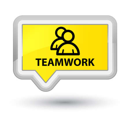 Teamwork (group icon) yellow banner button