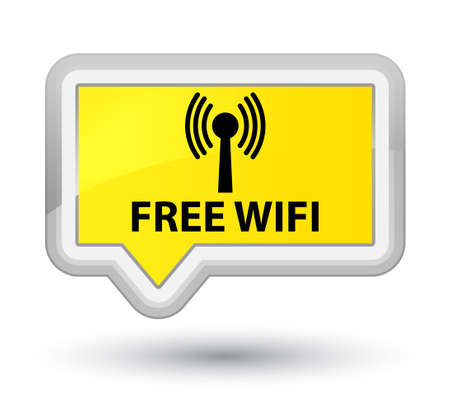 wlan: Free wifi (wlan network) yellow banner button Stock Photo