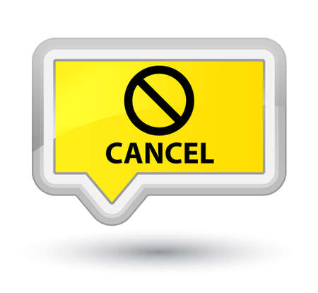 deny: Cancel (prohibition sign icon) yellow banner button Stock Photo