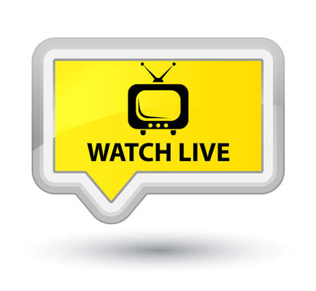 Watch live yellow banner button Stock Photo