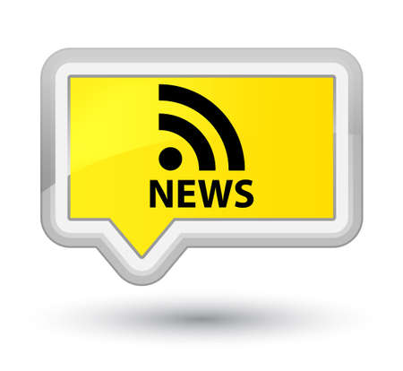 rss icon: News (RSS icon) yellow banner button Stock Photo