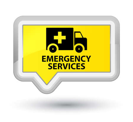 emergency services: Emergency services yellow banner button Stock Photo
