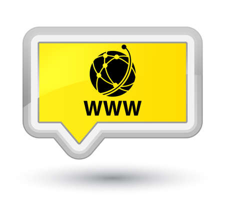 WWW (global network icon) yellow banner button Stock Photo
