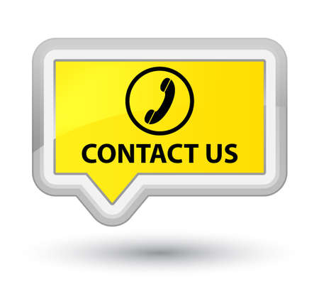 contact us phone: Contact us (phone icon round border) yellow banner button Stock Photo