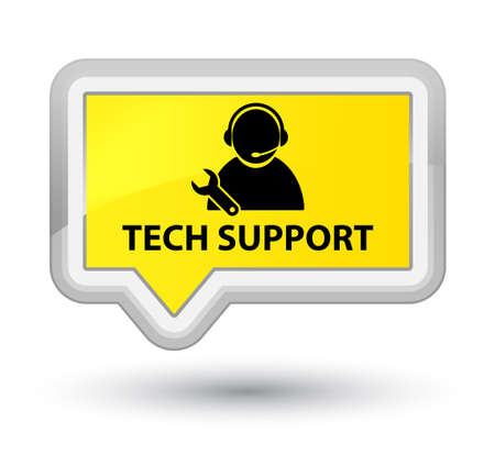 Tech support yellow banner button Stock Photo