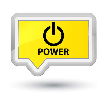 shutdown shut down: Power yellow banner button Stock Photo