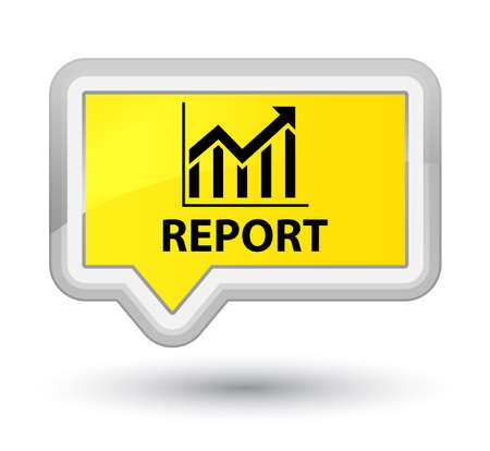 stat: Report (statistics icon) yellow banner button Stock Photo