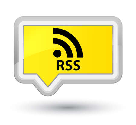 RSS yellow banner button Stock Photo